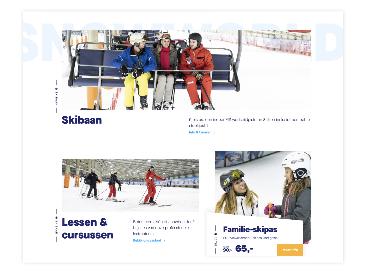 Screenshot website Snowworld