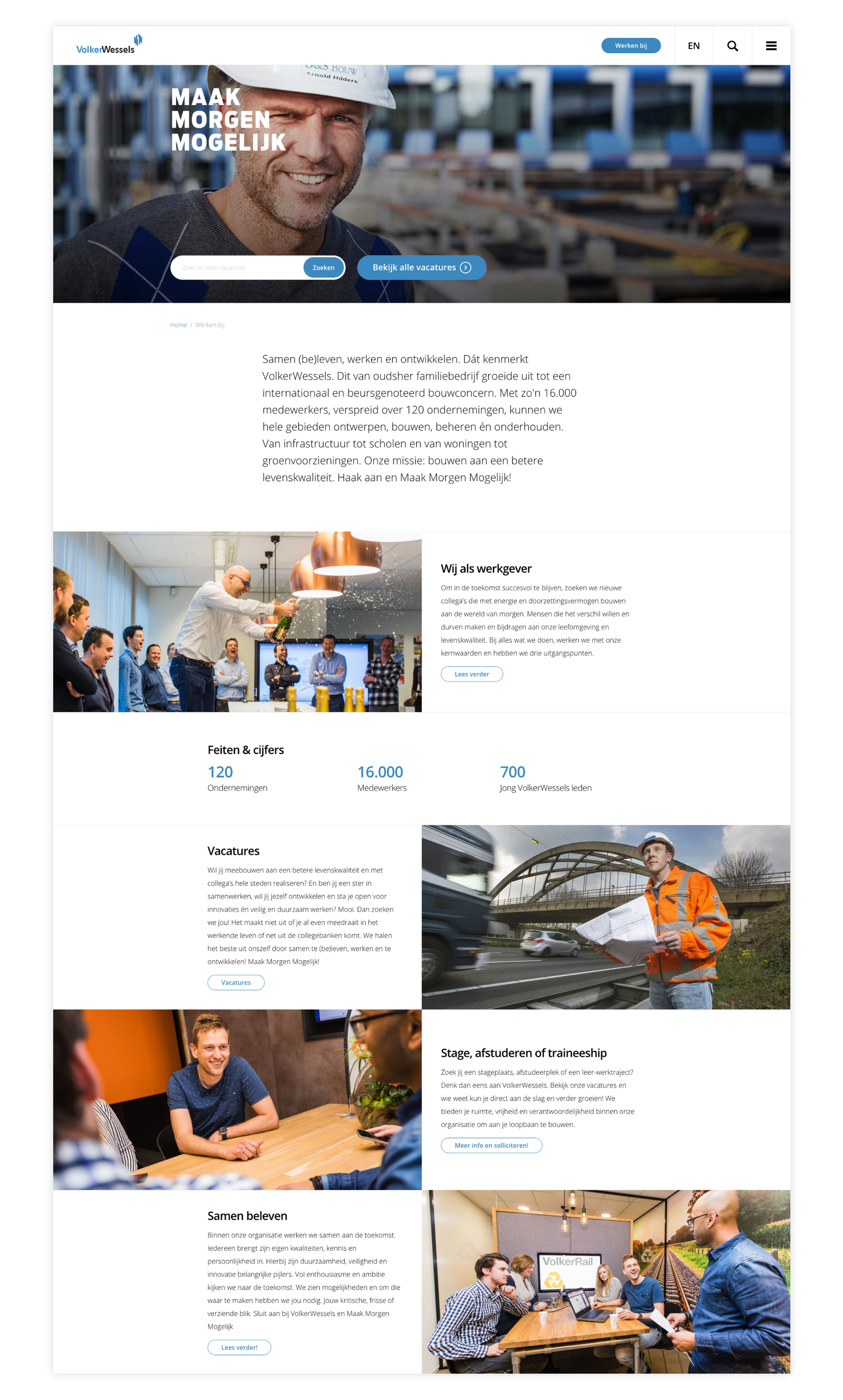 Screenshot website VolkerWessels
