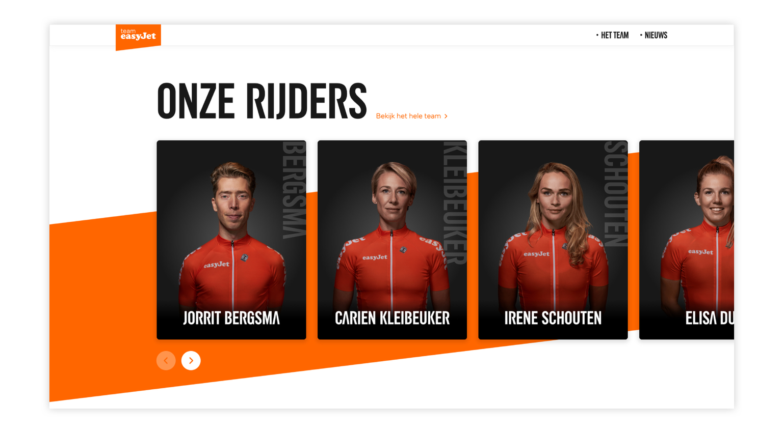 Case visual easyJet website rijders