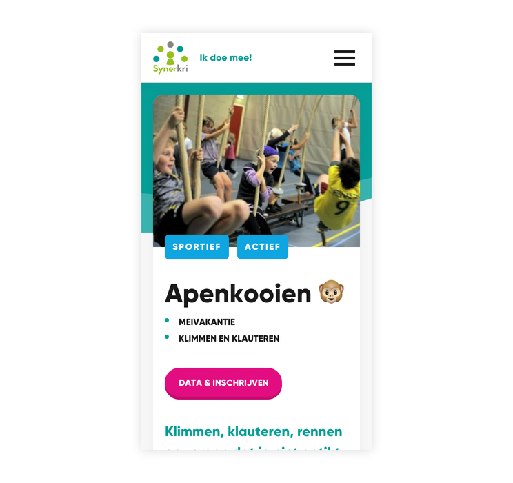 Screenshot website Synerkri op smartphone