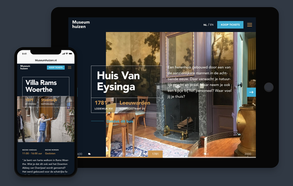 Screenshot website Museumhuizen in Ipad en Smartphone