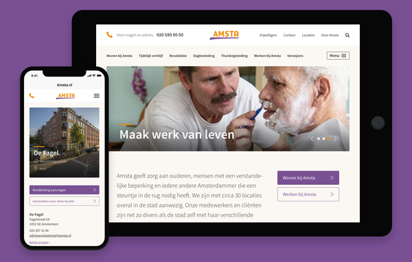 Screenshots website Amsta op tablet en smartphone