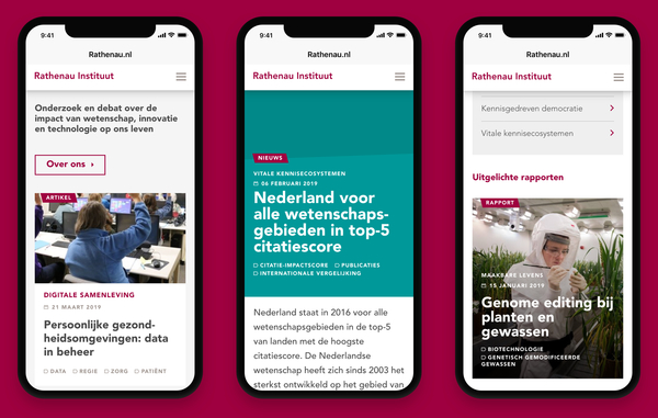 Screenshots website Rathenau in drie smartphones afgebeeld
