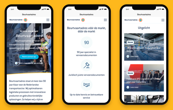 Screenshots website Beurtvaartadres op smartphone