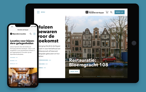 Websites Hendrick de Keyser op tablet en smertphone