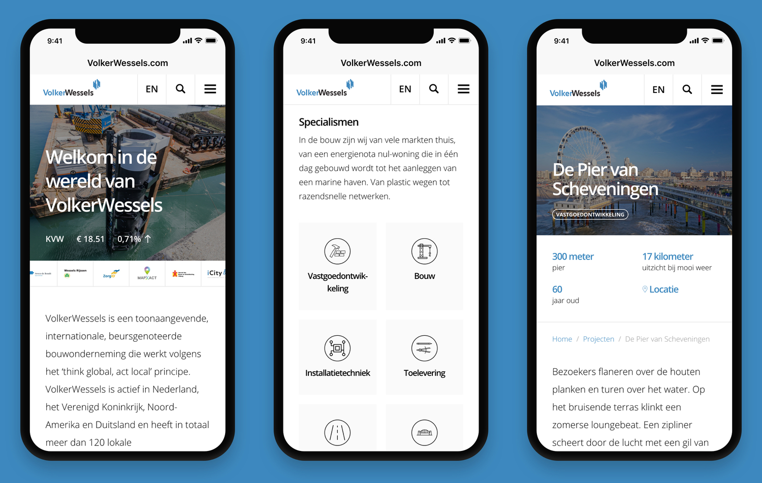 Screenshots website VolkerWessels op smartphone