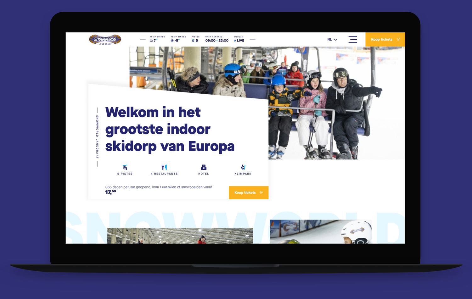 Screenshot website Snowworld op een laptop